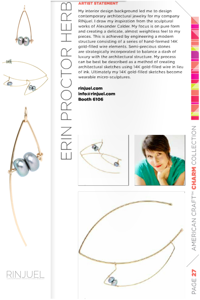 RINJUEL ACC American Craft Council Charm Collection Baltimore Wholesale Show Feb 18-19 2015 Booth 6106 contemporary architectural jewelry by Erin Proctor Herb