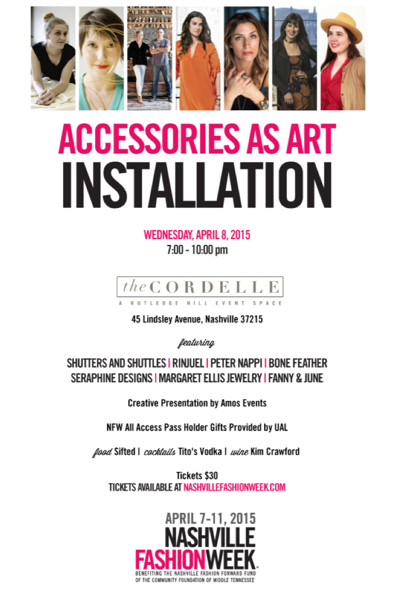 RINJUEL Nashville Fashion Week Accessories as Art Installation April 8 at the Cordelle