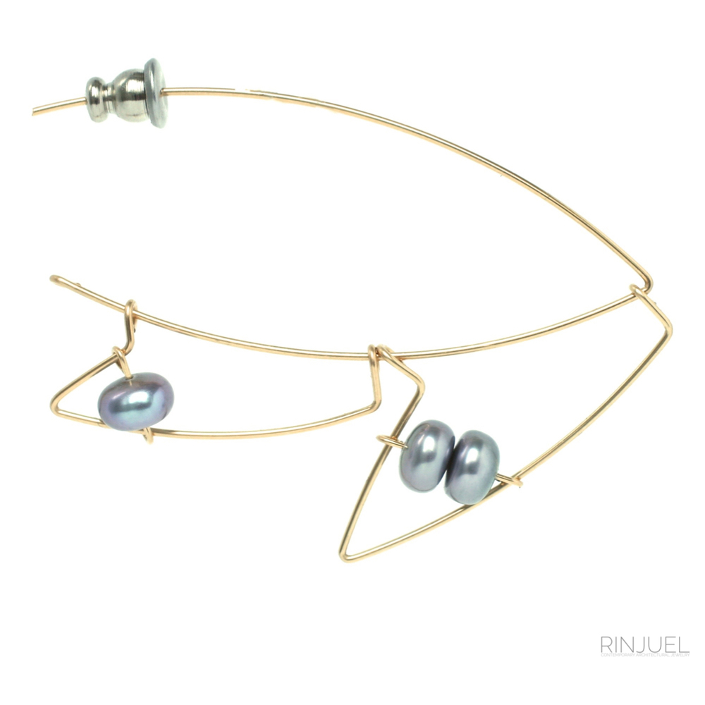 RINJUEL ACC Baltimore Charm Collection pin in grey freshwater pearls