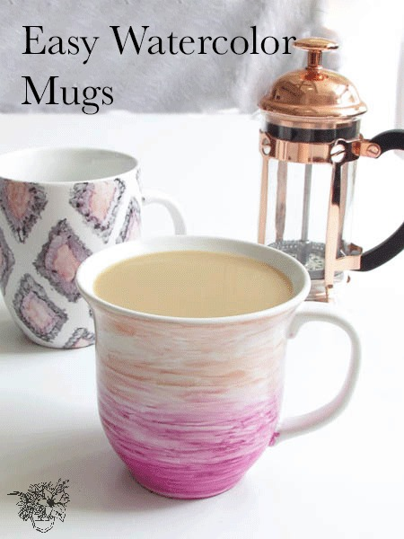 Easy Watercolor Mugs from Pocketful of Posies [Weekly Round-Up at High-Heeled Love]