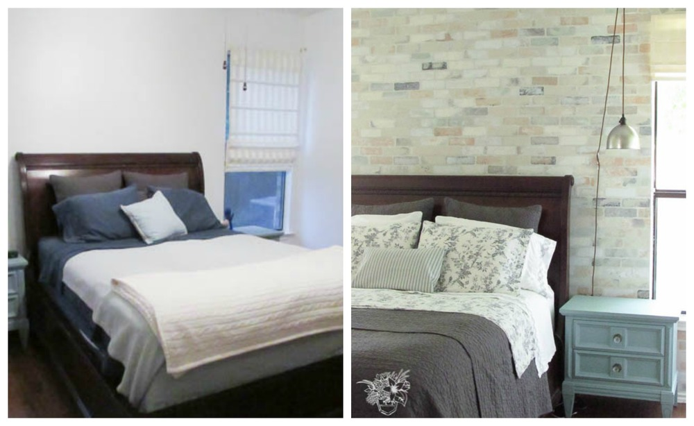 Brick Stenciled Feature Wall
