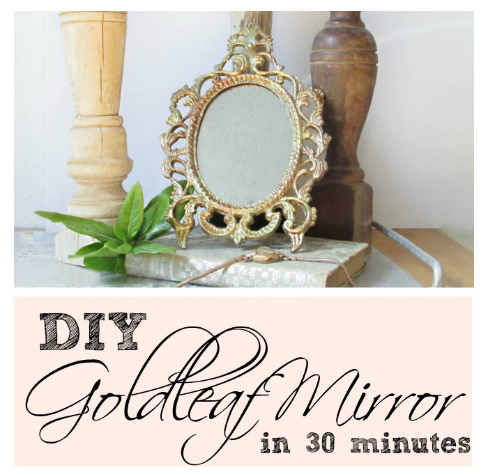 How To Make a Beautiful Goldleaf Mirror in 30 Minutes - Secret Santa Thift Store Flip