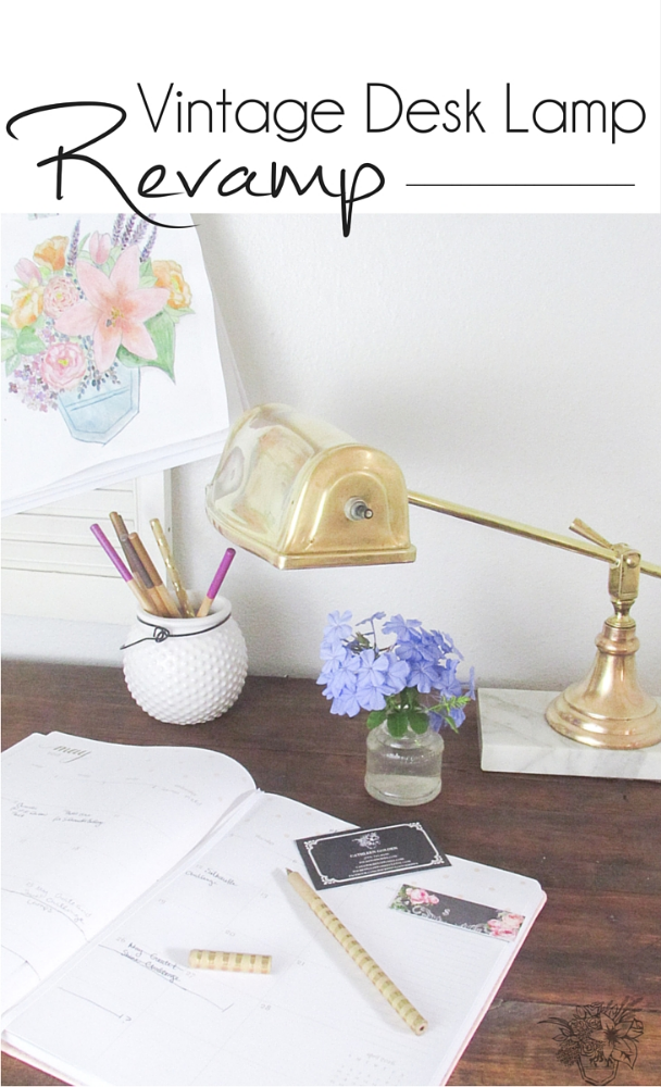 Vintage Desk Lamp Revamp May Create and Share Challenge - Pocketful of Posies