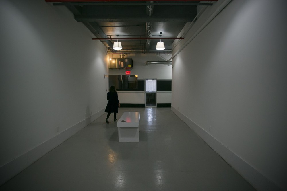 The Parentheses gallery at Brooklyn Brush, between programs. Annesta Le will have a solo show on display in the summer.