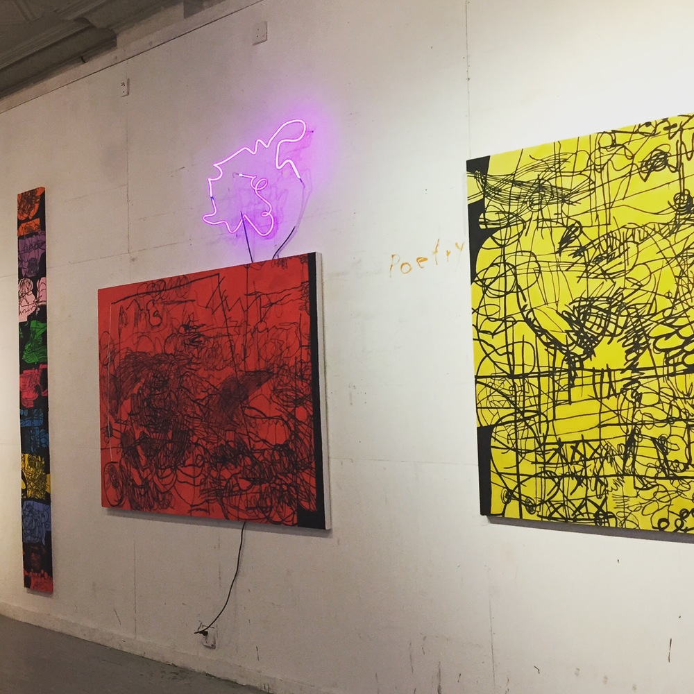CJ Collins paintings with Marco Guglielmino's neons
