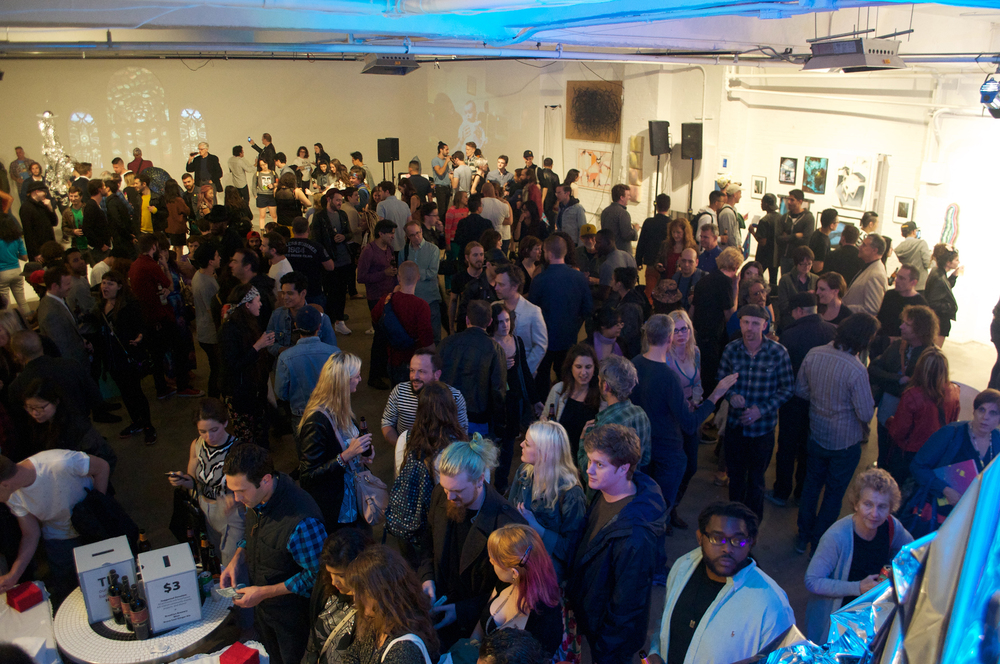 Crowd at the opening for Seeking Space Exhibition