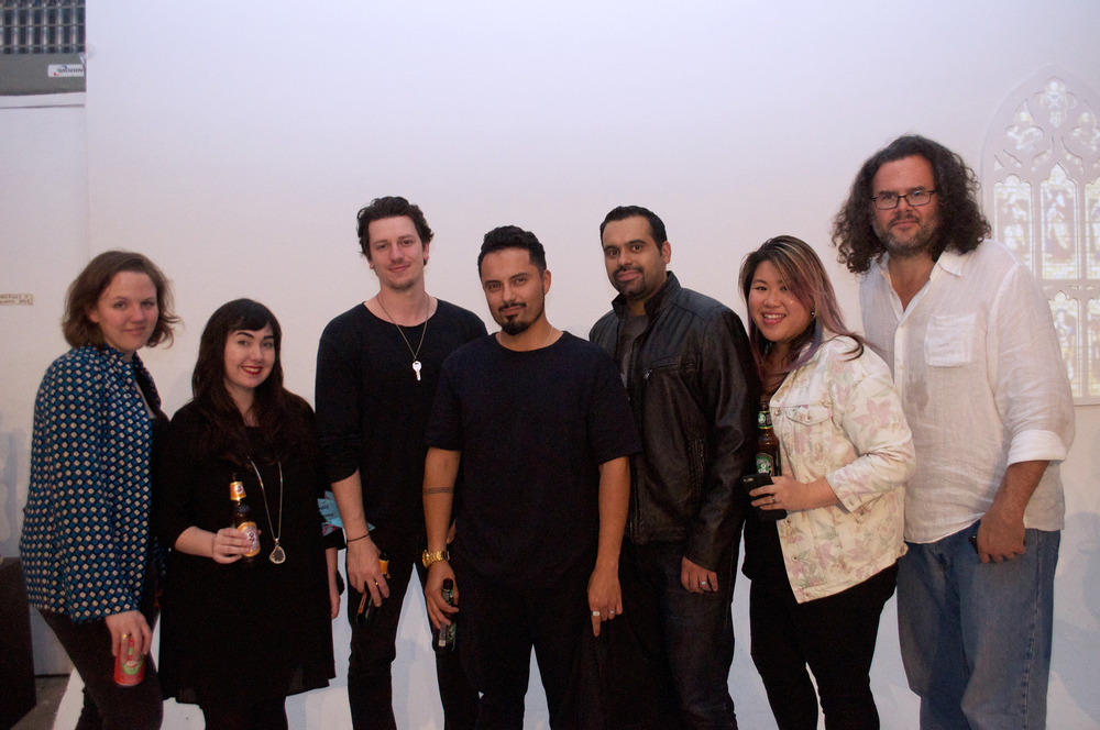 Fellow artist friends at the opening (L-R, Jenni Lukasiewicz,  Samantha Robinson ,  Nick Sider ,  Luis Martin , Elvis Infante, myself,  David Nakabayashi )