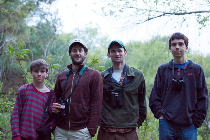 """The Harrier Circus"": the 2013 YBC Birdathon Team Left to right: Aiden Moser, Phil Brown, Henry Walters, Adam Burnett"