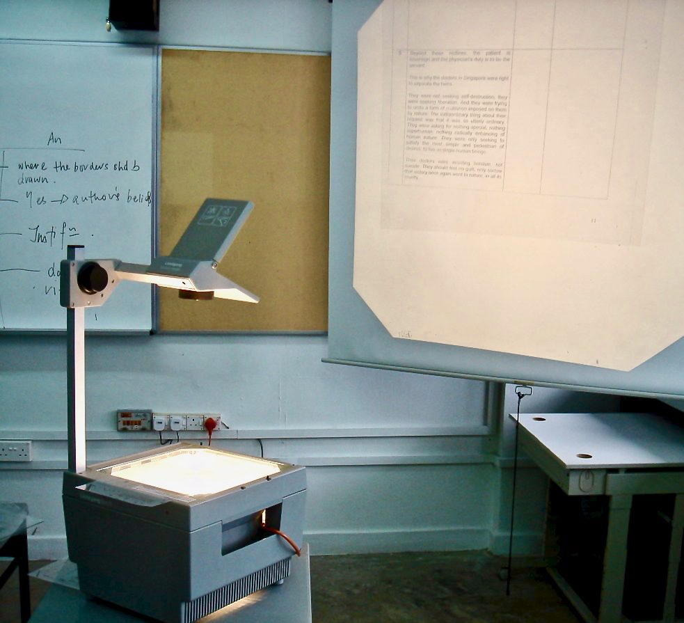 Classroom overhead projector. Photo taken during the late Bronze Age... am I right, fellow Millennials?