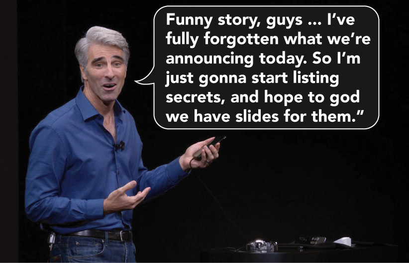Another classic snafu from one of our favorite keynote characters, Senior VP of Software Engineering Craig Federighi. He's such a Chandler!