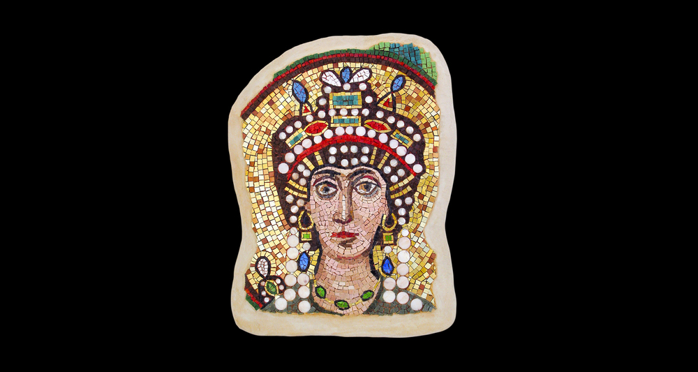 "Empress Theodora. 21x16"". Italian glass smalti, 24 karat gold tesserae, mother of pearl."