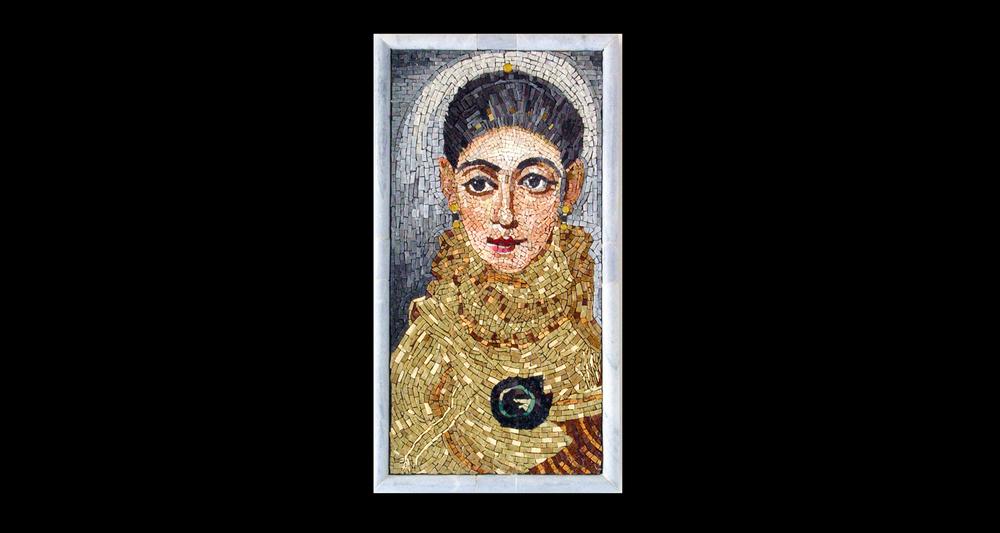 "Fayum Portrait. 26x14"".Italian glass smalti, marble frame."