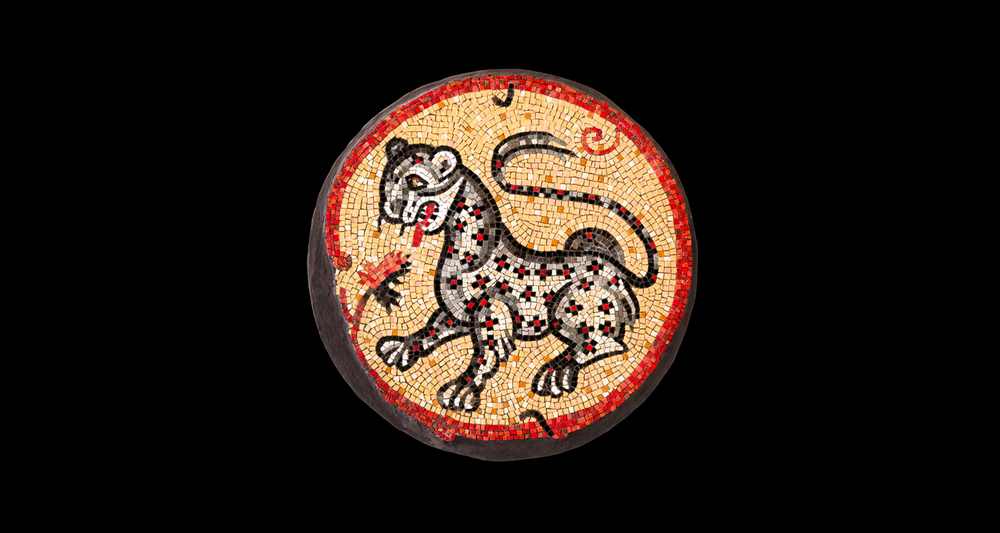 "Leopard. 24"" diameter. Italian glass smalti, dichroic glass."