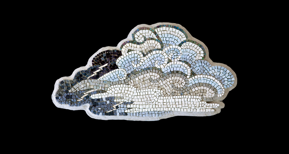 "White Lightning.  13x24"". Mexican smalti, Italian 24 karat gold tesserae."