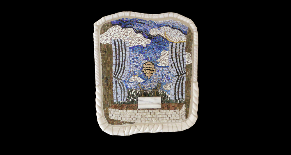 "Conversation With Rene. 21x17"". Italian glass smalti, 24 karat gold tesserae,  found objects, marble."