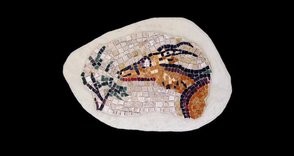"Diana's Antelope. 9.5x15"".Italian glass smalti, marble."