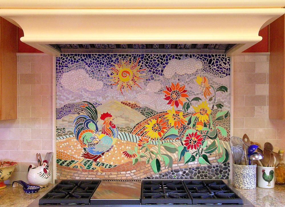 Custom Kitchen Mosaic Rooster Backsplash