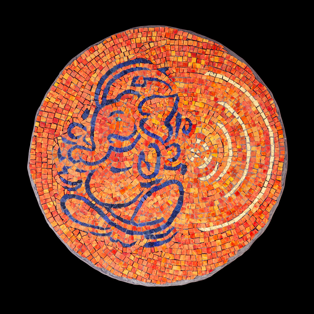 "Mosaic Logo: Ganesh. 16"" Diameter. Mexican glass smalti."