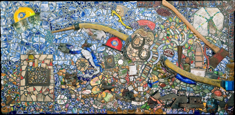 Fire Mosaic. 4x8'. Fire Salvage and Firefighting Equipment.