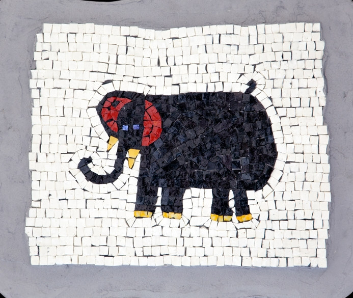 "Kristen's Elephant. 14x17"".Italian glass smalti."