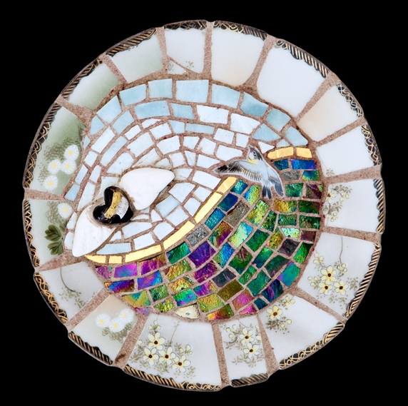 "Bye, Bye Love. 7.5"" diameter. Italian 24 karat gold tesserae, smalti, porcelain."