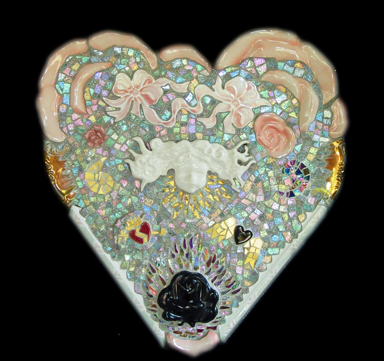 "Roses Are No Longer Red. 15.5x14"". Ceramic, porcelain, Mexican iridescent smalti, Italian 24 karat gold tesserae, dichroic glass."