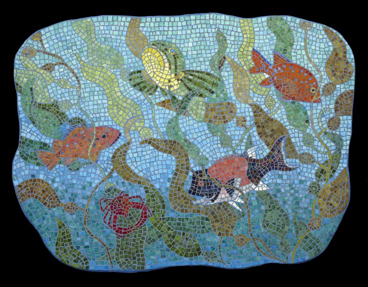 Channel Islands Marine Life with Kelp 3x4' Mexican smalti.