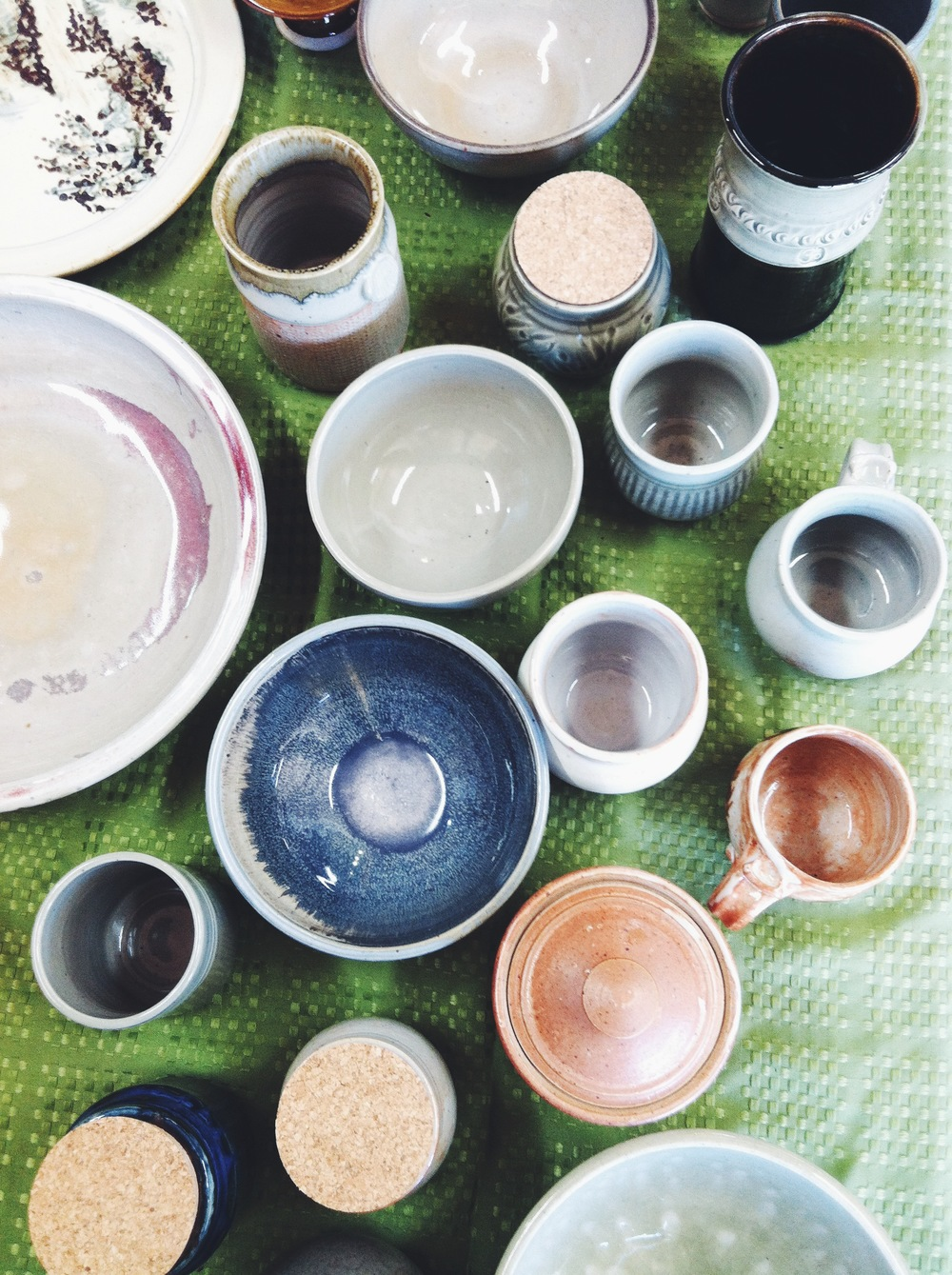 Hand crafted pottery by Ganesh. Mugs, salad bowls, jars with natural cork lids, serving platters, lidded baking dishes, incense holders, traditional Japanese rice jars, and more.