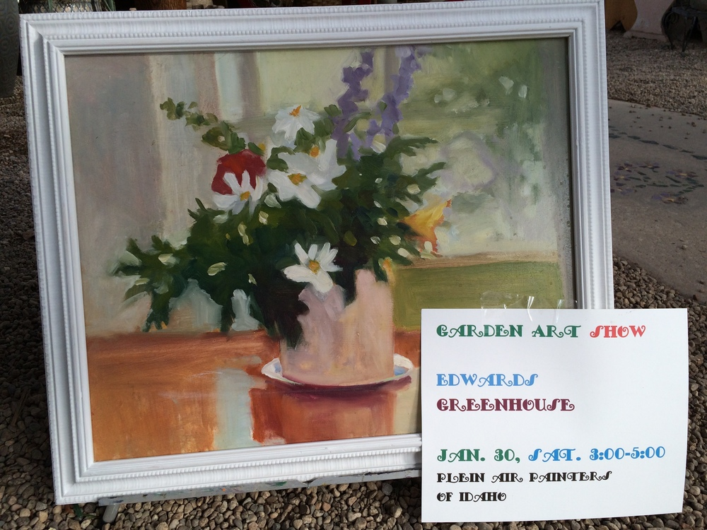 Garden Art Show, come view the beautiful paintings by the Plein Air Painters of Idaho. Saturday, January 30th at 3:00-5:00p.m. It is the second to last day of the Pop-Up Park, so come enjoy the sunny warmth of the greenhouse and park setting before it's gone.