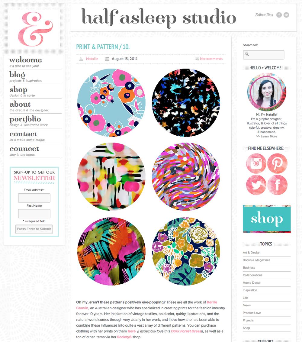 Featured in Half Asleep Studio Blog August 2014