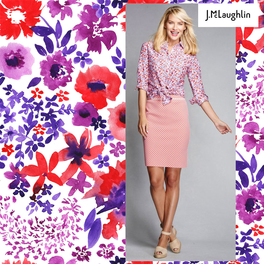 My watercolour floral print for J.McLaughlin sold by Hunt+Gather Studio NM USA
