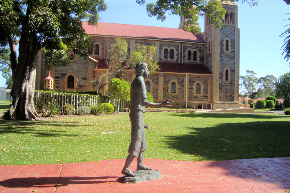 A statue of Marcellin Champagnat sculptured by Pauline Clayton which stands outside the chapel at Sacred Heart College in Adelaide. The photograph was taken by Br Bryan Leak.