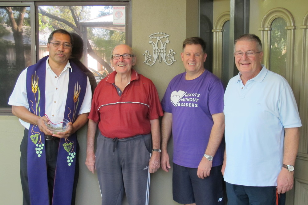 Fr Raass, Brs Bruce, Matt and Tony at the Blessing of the House