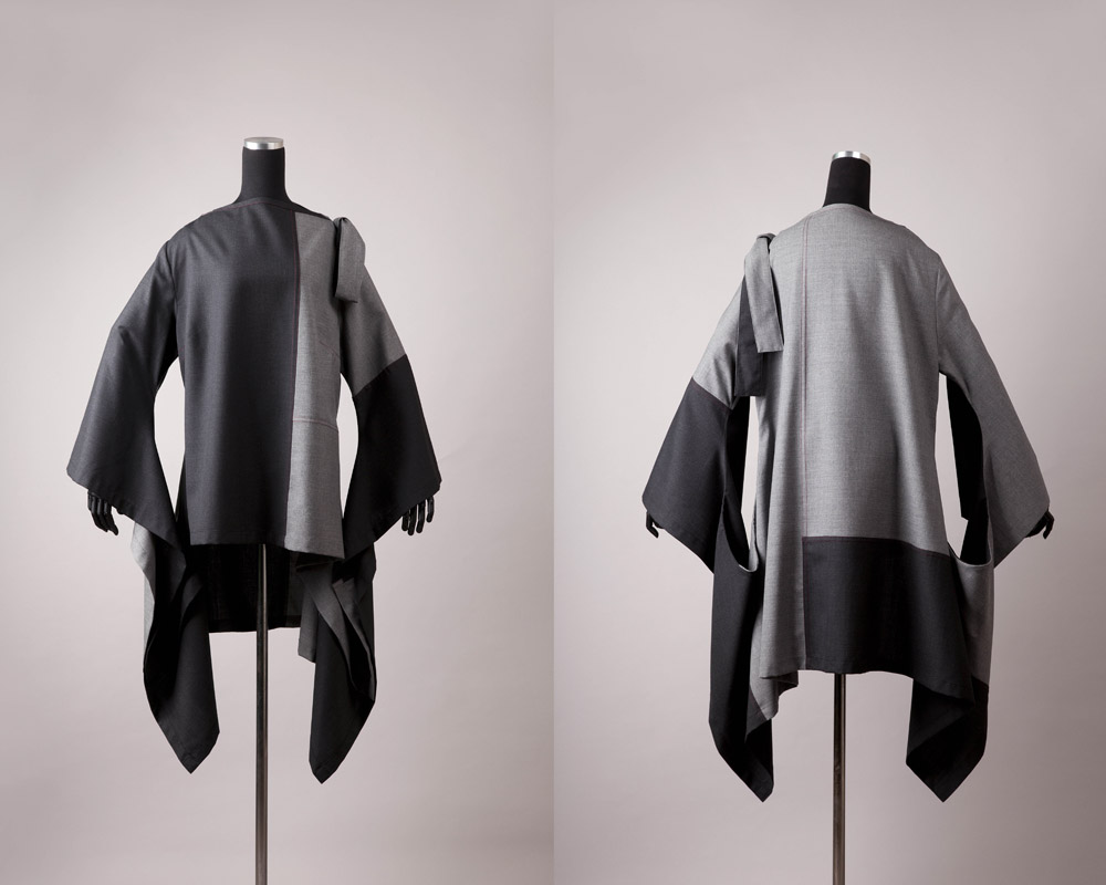 Grey Matter    Materials:  Wool Fabric, Thread  Techniques:  Patchwork, Subtraction Cutting Patternmaking, Garment Construction    2012