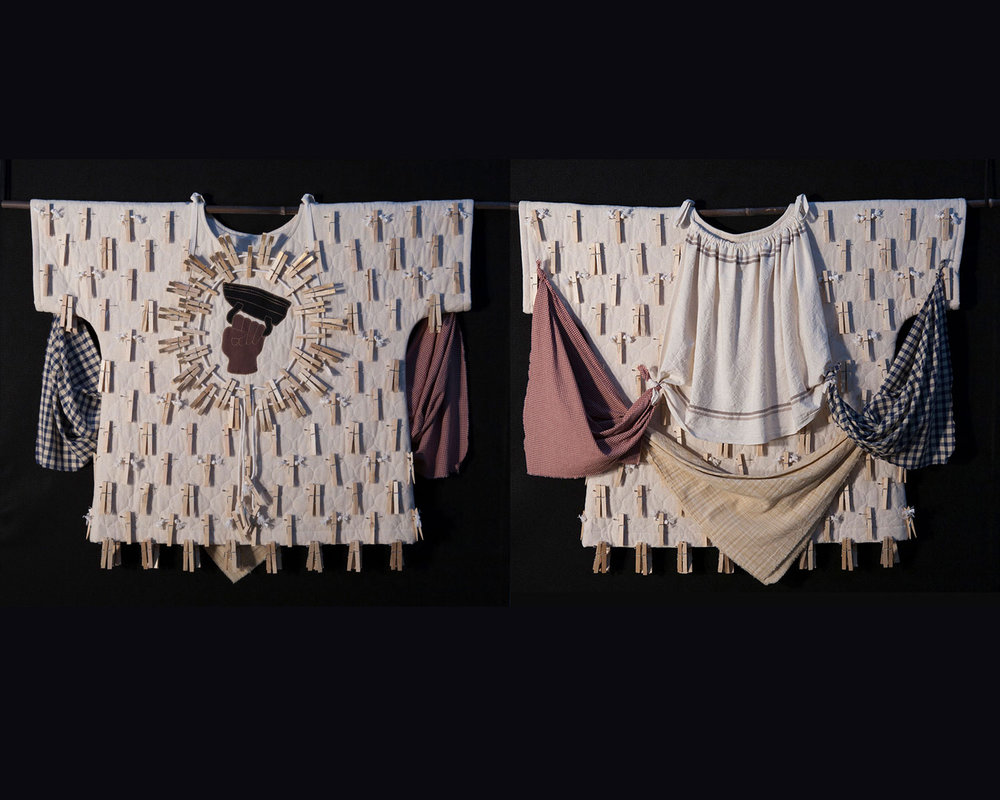 Negro Washerwoman War Shirt       Materials:  Cotton Cloth, Cotton Osnaburg, Quilted Cotton Osnaburg, Wooden Clothespins, Safety Pins, Cotton Clothesline, Cotton Embroidery Floss, Polyester Thread    Techniques:  Assemblage, Appliqué, Hand Embroidery, Hand Painting Patternmaking, Garment Construction    2016