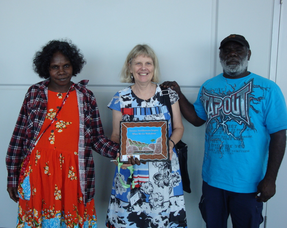 With illustrators Alice Durilla & Alfred Lalara at launch of When We Go Walkabout 2014