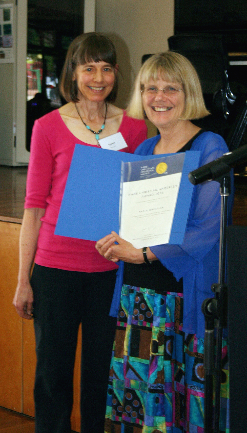 Receiving certificate for Hans Christian Andersen nomination at IBBY event, 2015.