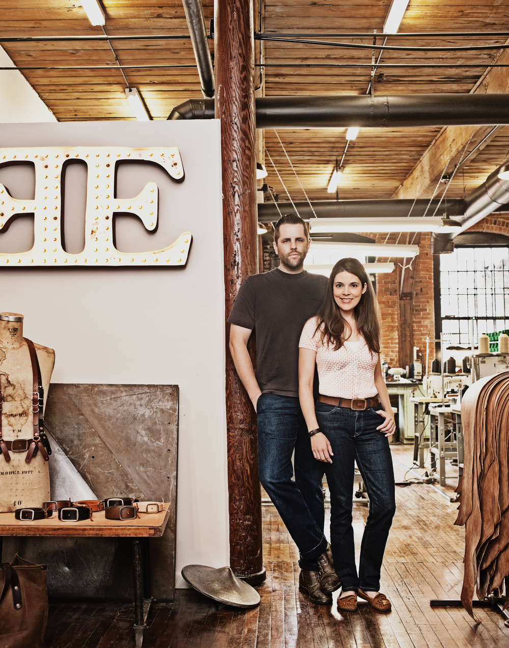Emil and Leslie Congdon, owners, Emil Erwin  Emil Erwin hand makes luxury leather bags and accessories.