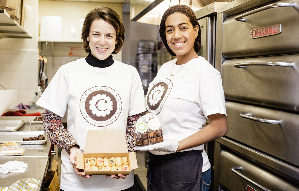 Céline Legros (owner,Canelé by Céline) and her assistant baker, Jasline Vargas.