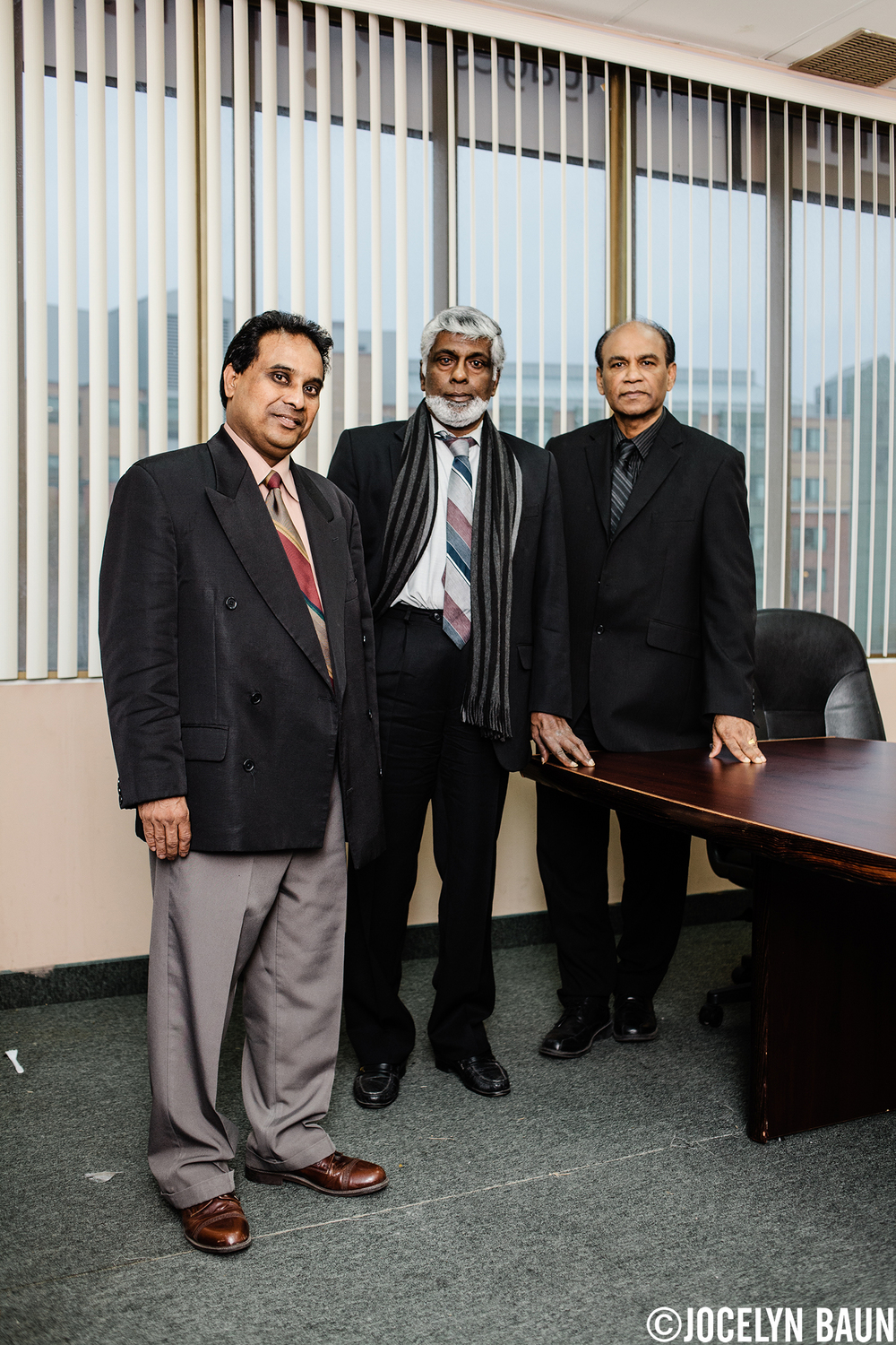 Three members of the Transnational Government of Tamil Eelam - Media Coordinator Roy Wignarajah, Deputy Prime Minister Dr. Ram Sivalingam and Secretary of Information Sam Sangarisivam - in their Toronto office.