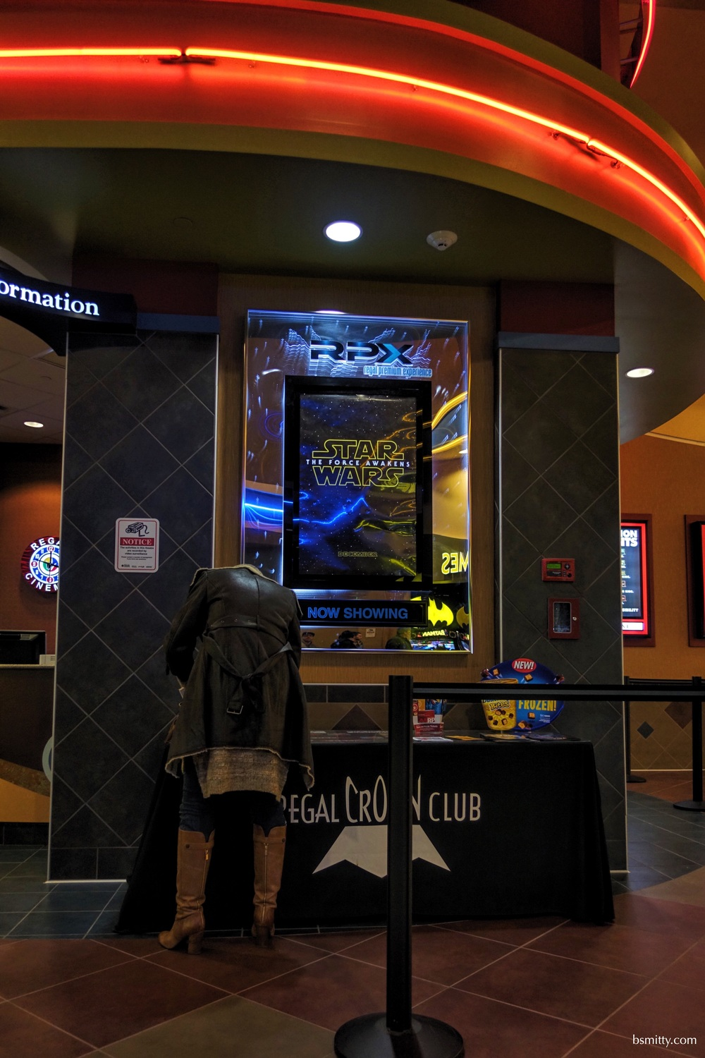 In front of this headless person was the only signage of Star Wars in this theatre. Mary and I plan to see it again maybe will find something else set up there