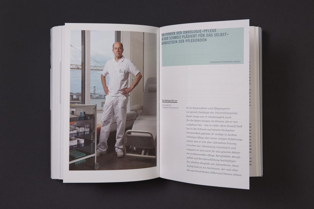 Das Buch beinhaltet 30 Portraits von Pflegenden aus der ganzen Schweiz