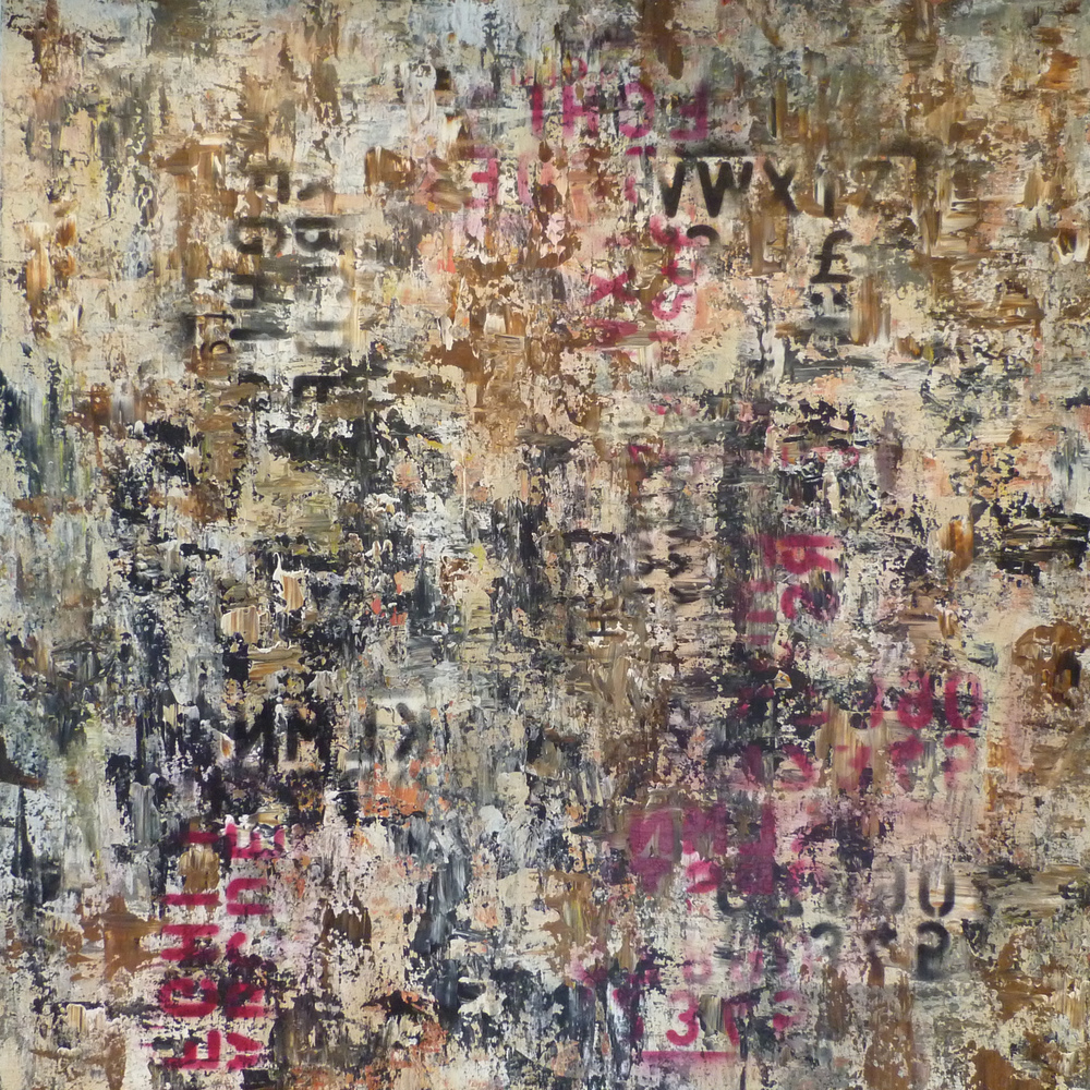 'Wall' 2011  Mixed media on canvas  120cm x 120cm  SOLD