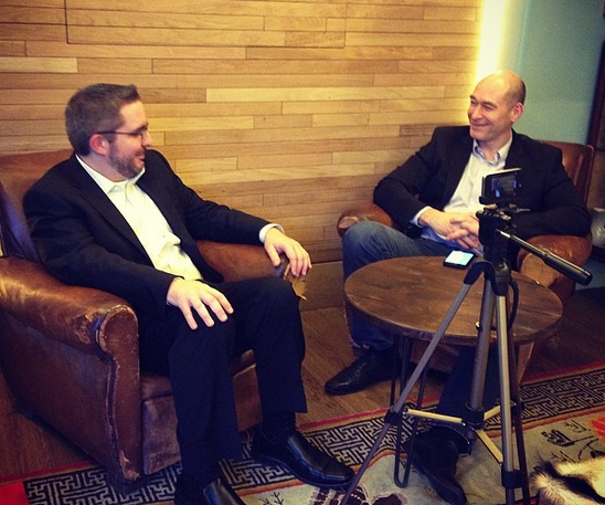 Pictured: Hire Vue CEO Mark Newman (left) being interviewed by HR Mash editor Peter Gold