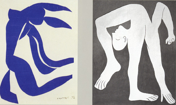 Left, Matisse Flowing Hair 1952, Right Picasso Acrobat 1930