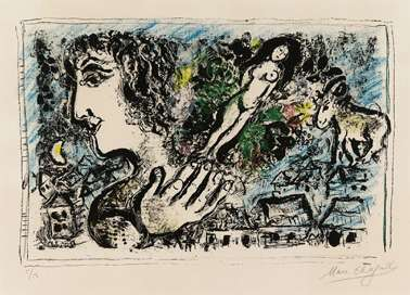 Marc Chagall, Listening ,Lithograph drawing