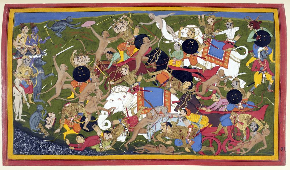Ramayana - Battle at Lanka Udaipur 1649-53