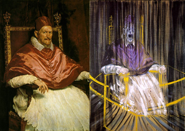 Velazquez  Pope Innocent X 1650. Francis Bacon screaming Pope 1953