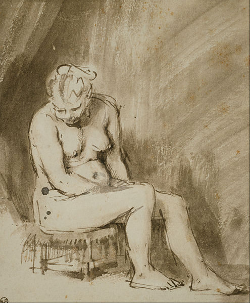Rembrandt Nude seated