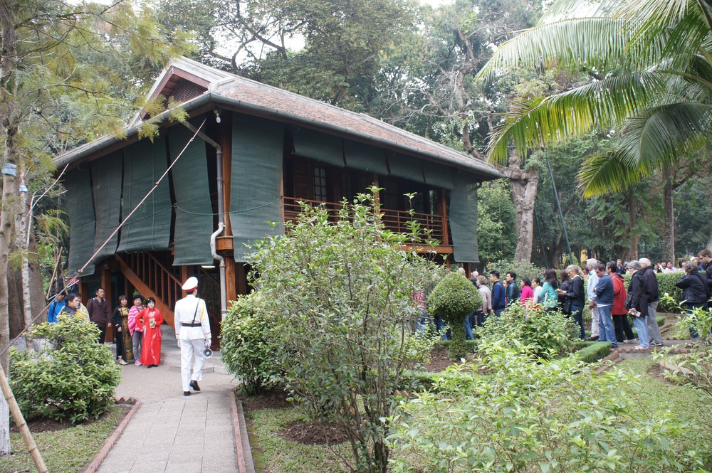 After their declaration of Independence, Ho Chi Minh lived initially in the electrician's accommodation in the grounds but later moved to this modest two room house. The building is raised to avoid flooding and wild animals.